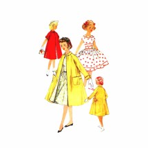 1950s Girls Dress Raglan Sleeve Coat Simplicity 1934 Vintage Sewing Pattern Size 14 Breast 32