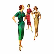 Misses Sheath Dress with Detachable Collar 1950s Simplicity 2177 Vintage Sewing Pattern Size 12 Bust 32