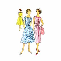 1950s Fit and Flared or Slim Skirt Dress Simplicity 2585 Vintage Sewing Pattern Size 20 1/2 Bust 41