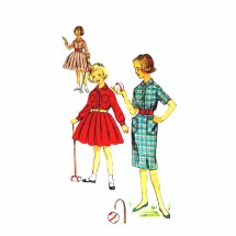 1950s Girls Slim or Full Skirt Dress with Cummerbund Simplicity 3060 Vintage Sewing Pattern Size 10