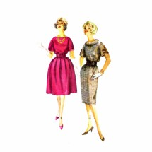 1950s Slim or Full Skirt Dress Simplicity 3158 Vintage Sewing Pattern Size 16 Bust 36