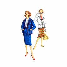 1950s Teen Girls Blazer Skirt Suit Simplicity 3198 Vintage Sewing Pattern Size 14 Bust 34
