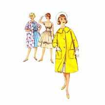 1960s Sub-Teen Full Skirt Dress Kimono Sleeve Coat Simplicity 3322 Vintage Sewing Pattern Size 14