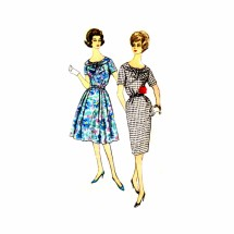 1960s Misses Sheath or Full Skirt Dress Simplicity 3446 Vintage Sewing Pattern Size 14 Bust 34