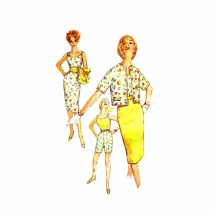 1960s Misses Shorts Blouse Skirt Jacket Cummerbund Simplicity 3478 Vintage Sewing Pattern Size 14 Bust 34