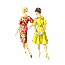 1960s Sheath or Full Skirt Dress Simplicity 3791 Vintage Sewing Pattern Size 11 Bust 31 1/2