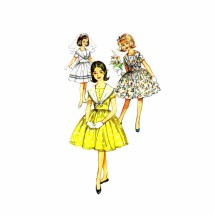 1960s Girls Midriff Full Skirt Dress Simplicity 3848 Vintage Sewing Pattern Size 8