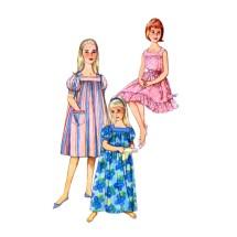1960s Girls Muu Muu Nightgown Simplicity 3938 Vintage Sewing Pattern Size 10 Breast 28