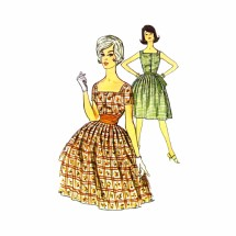 1960s Full Skirt Sun Dress Simplicity 3994 Vintage Sewing Pattern Size 12 Bust 32