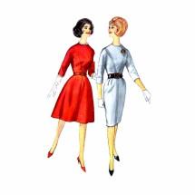 1960s Misses Jewel Neck Dress Simplicity 4694 Vintage Sewing Pattern Size 14 Bust 34