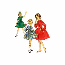 1960s Girls Shirtwaist Dress Simplicity 5181 Vintage Sewing Pattern Chubbies Size 14 1/2