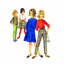 1960s Girls Skirt Blouse Pants Simplicity 5183 Vintage Sewing Pattern Size 14 1/2
