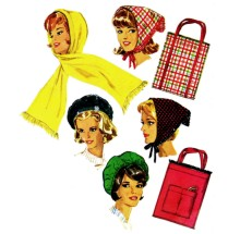 Beret Hood Scarf Tote Bag 1960s Simplicity 5184 Vintage Sewing Pattern