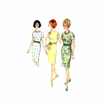 1960s Scoop Neck Proportioned Dress Simplicity 5355 Vintage Sewing Pattern Size 16 Bust 36