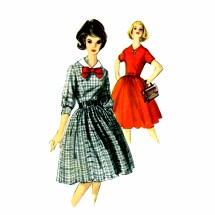 1960s Misses Full Skirt Dress Simplicity 5546 Vintage Sewing Pattern Size 16 Bust 36