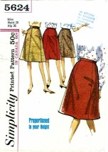 Simplicity 5624 Misses Gored Skirt Waist 26