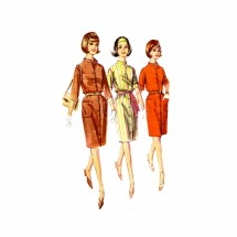 1960s One Piece Proportioned Dress Simplicity 6040 Vintage Sewing Pattern Size 10 Bust 31