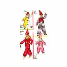 1960s Boys and Girls Clown Costumes Simplicity 6198 Vintage Sewing Pattern Size 8 - 10