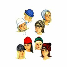 1960s Girls Jockey Hat Helmet Tam Roller Simplicity 6274 Vintage Sewing Pattern Head Size 21 3/4 inches