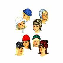 1960s Girls Jockey Hat Helmet Tam Roller Simplicity 6274 Vintage Sewing Pattern Head Size 21 3/4 inches