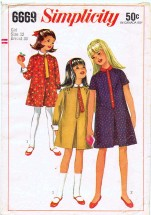 Vintage 1960's Girls One-Piece Dress Tie Size 12 Simplicity 6669 Sewing Pattern