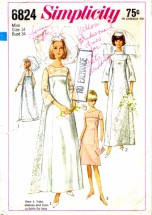 Simplicity 6824 Vintage Sewing Pattern Wedding Gown Detachable Train Bridesmaid Dress Evening Dress Size 14 Bust 34