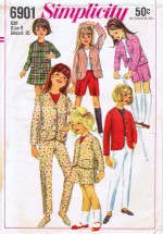 Simplicity 6901 Sewing Pattern Girls Jacket Skirt Shorts Pants Size 8