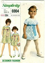 Simplicity 6904 Girls One-Piece Dress Size 8
