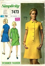 Simplicity 7473 Juniors Designer Fashion Dress Size 7