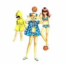 1960s Girls Beach Coat Bathing Suit Simplicity 7710 Vintage Sewing Pattern Size 10
