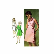 1960s Misses Front Wrap Dress Simplicity 7715 Vintage Sewing Pattern Size 12 Bust 34