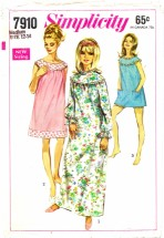 Simplicity 7910 Nightgown and Bloomers Size 12 - 14 - Bust 34 - 36