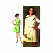 1960s Wrap Coat Drop Waist Dress Simplicity 8096 Vintage Sewing Pattern Size 8 Bust 31 1/2