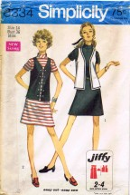 1960's Simplicity 8334 Sewing Pattern Jiffy Dress Vest Size 14 - Bust - 36