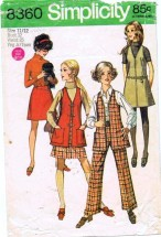 Simplicity 8360 Jumper Vest Skirt Pants Size 11/12 - Bust 32