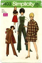 Simplicity 8403 Mini-Coat Skirt Pants with Detachable Bib Size 8