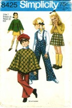 Simplicity 8425 Girls Poncho Skirt Bell-Bottom Suspender Pants Size 7