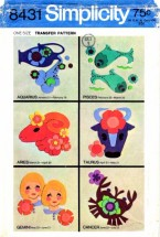 Simplicity 8431 Vintage Transfer Pattern Appliquing Signs of the Zodiac