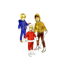 1960s Boys and Girls Hooded Jacket and Snowpants Simplicity 8473 Vintage Sewing Pattern Size 4