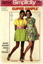 Simplicity 8634 Dress or Blouse Size 11 / 12 - Bust 32