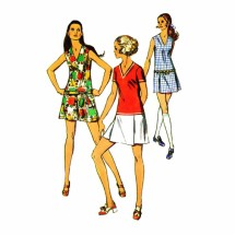1960s Mini Pantdress Simplicity 8657 Vintage Sewing Pattern Size 9 Bust 33