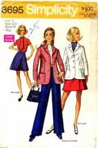 Simplicity 8695 Jacket Pants Mini Pantskirt Size 10 - Bust 32 1/2