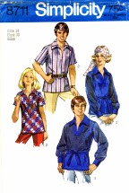 Simplicity 8711 Sewing Pattern Misses Retro Hippie Boho Shirt Size 14