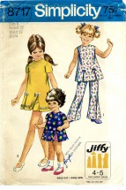 Simplicity 8717 Play-dress Shorts Bell-Bottom Pants Size 6