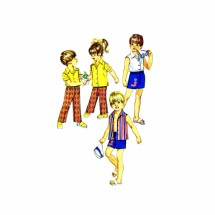 1970s Childs Pants Shorts Shirt Simplicity 8861 Vintage Sewing Pattern Size 2