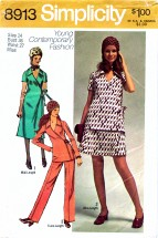 1970's Simplicity 8913 Sewing Pattern Side Wrap Dress Tunic Skirt Pants Size 14