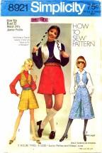 Simplicity 8921 Pantskirt & Vest Size 9 - Bust 33