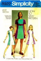 Simplicity 8922 Sleeveless Mini Dress Size 9 - Bust 33
