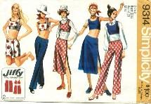 Simplicity 9314 Retro Hip-Hugger Pants Midi-Skirt Top Size 8