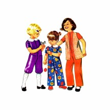 1970s Girls Jumpsuit in Two Lengths and Vest Simplicity 9685 Vintage Sewing Pattern Size 2